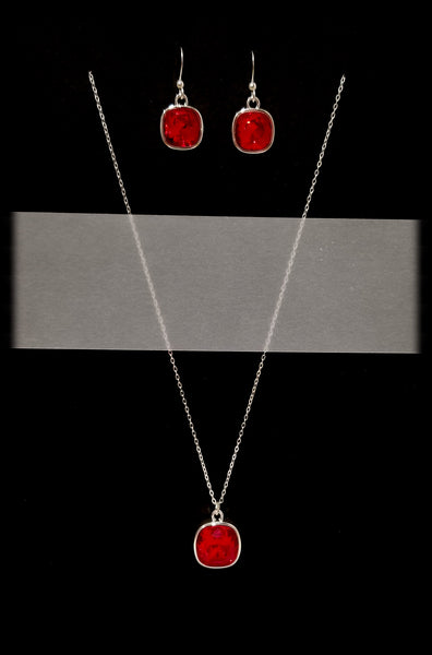 #CD52SET- Eclipse Drop Necklace and Earring- Light Siam Silver