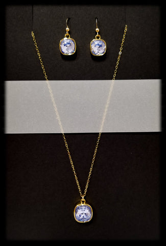 #CD39GSET- Eclipse Drop Necklace and Earring- Lavender Gold