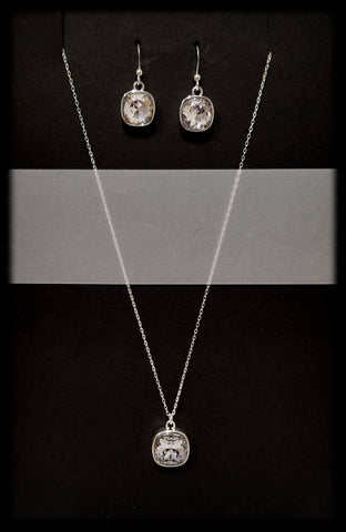 #CD41SET- Eclipse Drop Necklace and Earring- Smokey Mauve Silver