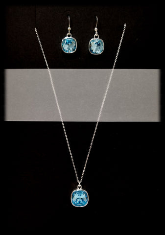#CD21SET- Eclipse Drop Necklace and Earring- Aqua Silver