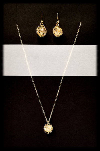 #MM49974SET- Crystal Nest Necklace and Earring- Gold