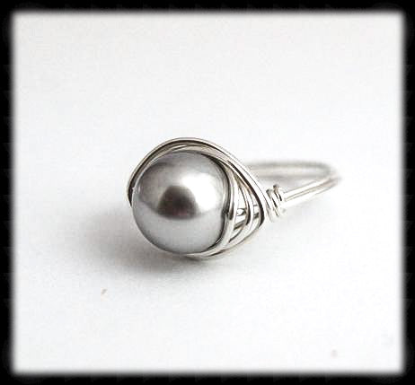 #R2- Sterling Wire Wrapped Ring- Grey Pearl