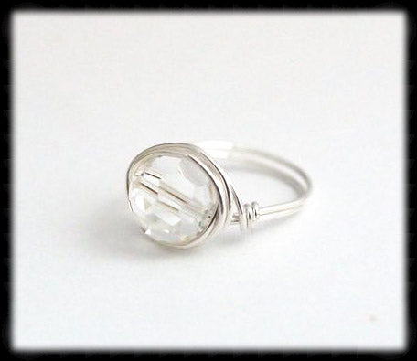 #R7- Sterling Wire Wrapped Ring- Crystal Clear