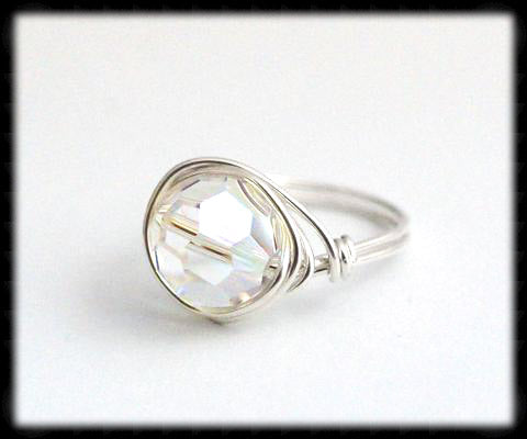 #R8- Sterling Wire Wrapped Ring- Ab