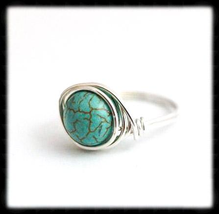 #R9- Sterling Wire Wrapped Ring- Teal Magnesite