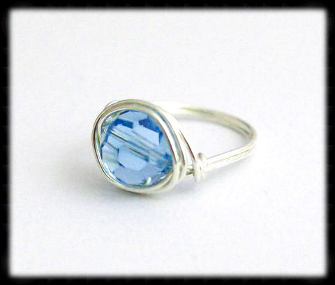 #R5- Sterling Wire Wrapped Ring- Aquamarine