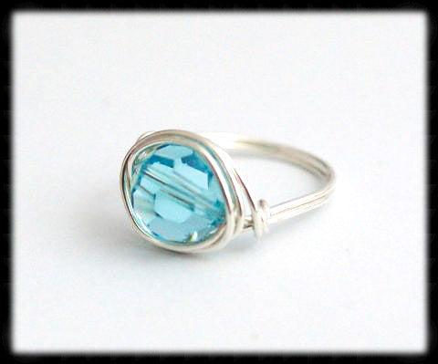 #R4- Sterling Wire Wrapped Ring- Light Turquoise