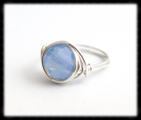 #R3- Sterling Wire Wrapped Ring- Air Blue Opal