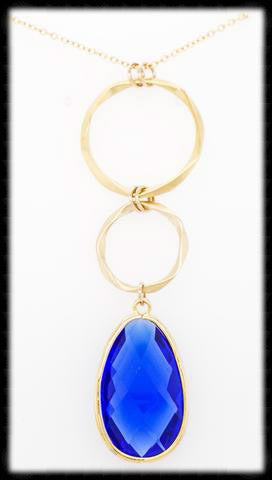 #AAFTXL22G-HRN- Hammered Rings with Framed Pendant Necklace-Sapphire Gold