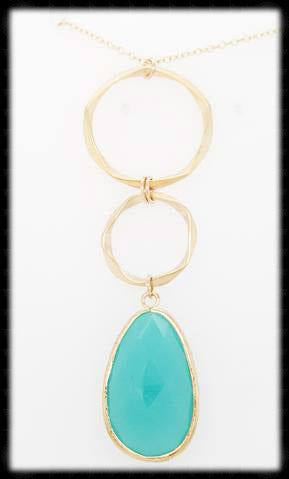 #AAFTXL14G-HRN- Hammered Rings with Framed Pendant Necklace-Mint Gold