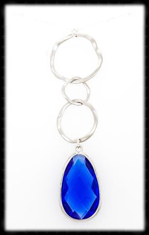 #AAFTXL22-HRN- Hammered Rings with Framed Pendant Necklace-Sapphire Silver