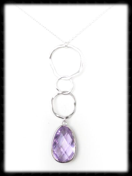 #AAFTXL2-HRN- Hammered Rings with Framed Pendant Necklace-Lavender Silver