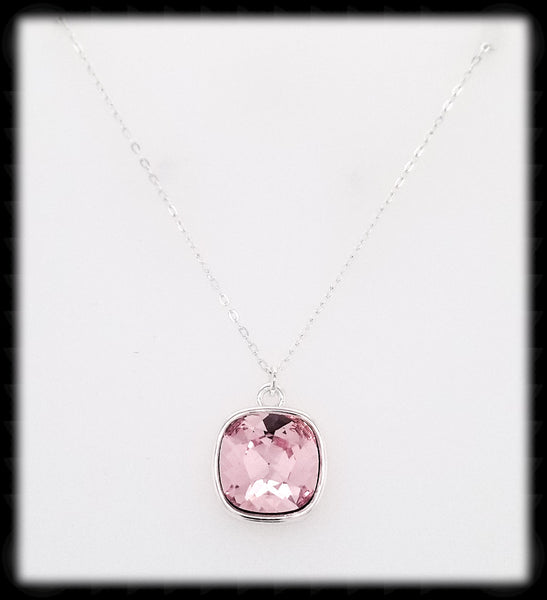 #CD63N- Cushion Cut Necklace- Light Rose Silver