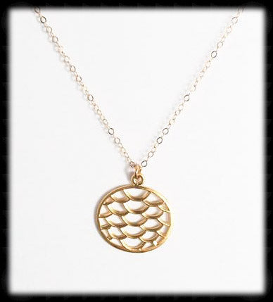 #MM41N- Mermaid Scale Necklace- Gold