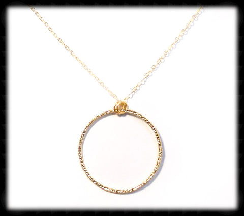 #MM38N-Textured Ring Necklace- Gold