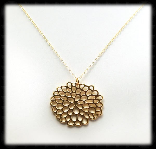 #MM32N-Lotus Flower Necklace- Gold