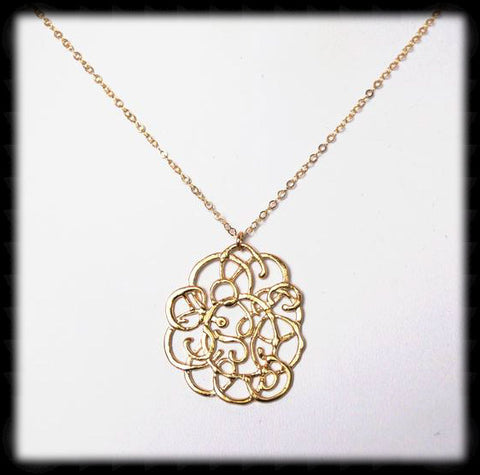 #MM30N-Ornate Flower Necklace- Gold