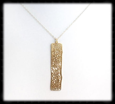 #MM2N- Textured Bar Chain- Gold