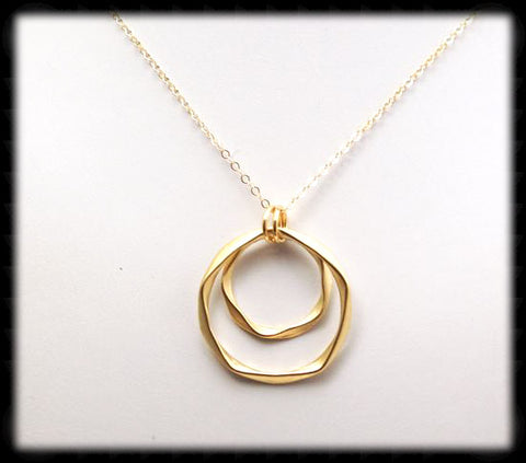 #MM29N-Bold Hammered Ring Necklace- Gold