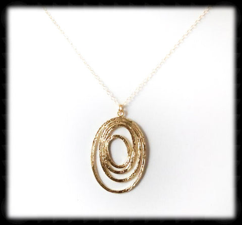 #MM26N-Abstract Oval Necklace- Gold