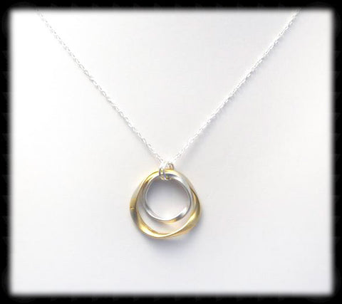 #MM14GSN- Hammered Ring Necklace- Gold Silver