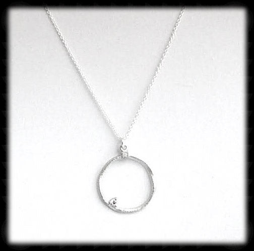 #MM54N- Abstract Round Chain with Cz Accent- Silver