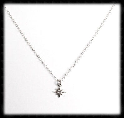 #N-MM005- Petite Starburst Necklace- Silver