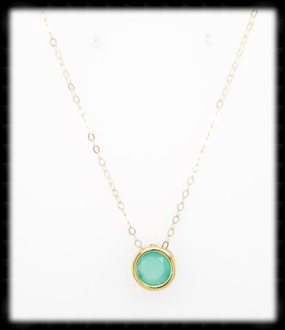 #MCN1G- Framed Glass Necklace- Mint Gold