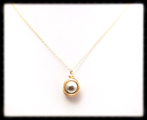 #WP22GN- Wrapped Pearl Necklace- Light Grey Gold