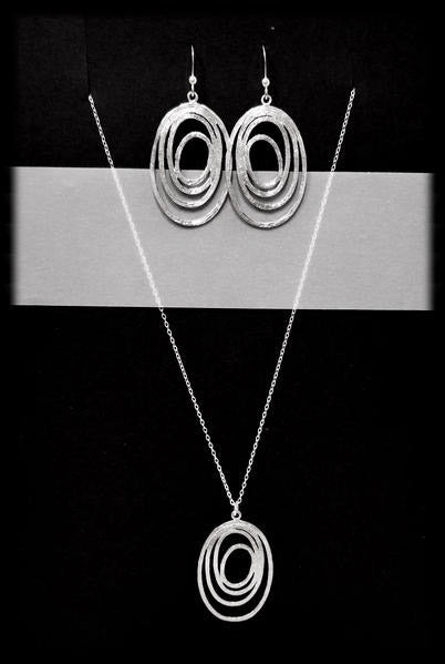 #MM6SET- Abstract Oval Necklace and Earring- Silver