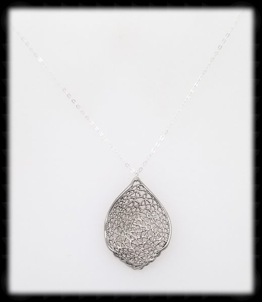 #MM991N- Mesh Leaf Necklace- Silver