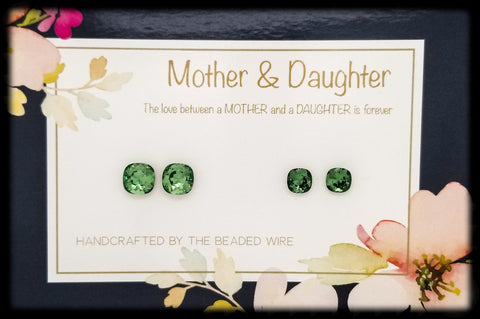 #MOMCS17- Mother & Daughter Earring Set- Cushion Stud- Erinite