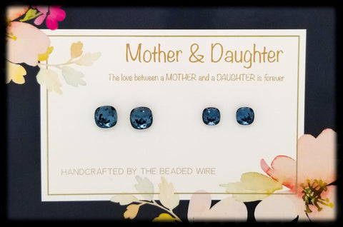 #MOMCS31- Mother & Daughter Earring Set- Cushion Stud- Denim