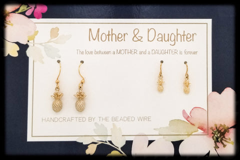 #MOM02G- Mother & Daughter Earring Set- Pineapples- Gold