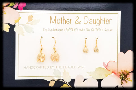 #MOM01G- Mother & Daughter Earring Set- Elephants- Gold