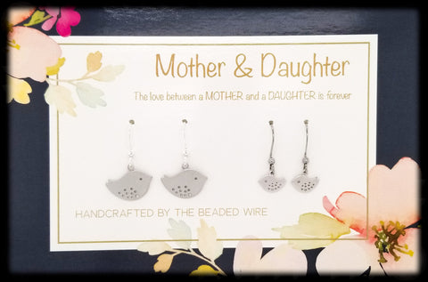 #MOM03- Mother & Daughter Earring Set- Sparrow- Silver