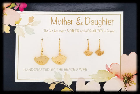 #MOM03G- Mother & Daughter Earring Set- Sparrow- Gold