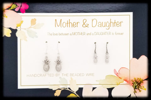 #MOM02- Mother & Daughter Earring Set- Pineapples- Silver