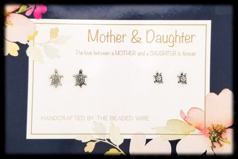 #MOMSG91-Mother & Daughter Earring Set- Turtle Studs