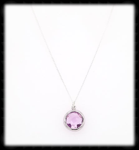 #AAAFTR69BN-Round Framed Drop Necklace- Lavender Silver