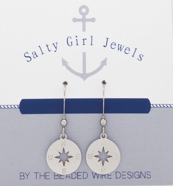 #SG496-Petite Compass Earrings-Silver