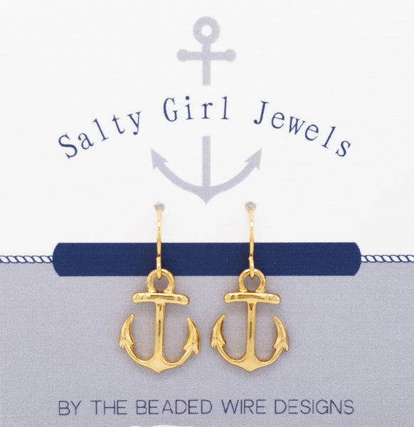 #SG33G- Petite Anchor Drop Earrings- Matte Gold