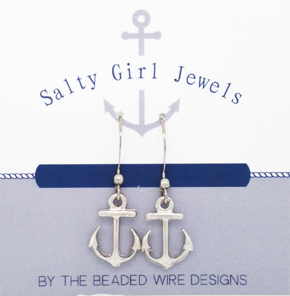 #SG33-Petite Anchor Drop Earrings- Matte Rhodium