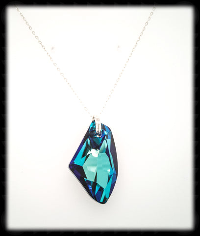 #ACRN1- Bold Crystal Long Necklace- Bermuda Blue