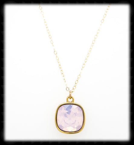 #CD14NG- Cushion Cut Necklace- Rose Opal Gold
