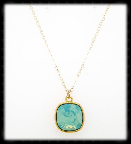 #CD13NG- Cushion Cut Necklace- Pacific Opal Gold