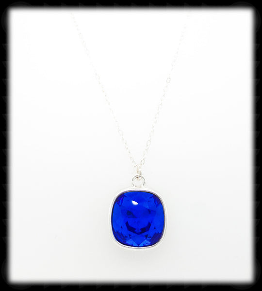 #CD47N- Cushion Cut Necklace- Sapphire Silver