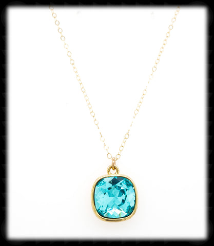 #CD12NG- Cushion Cut Necklace- Light Turquoise Gold