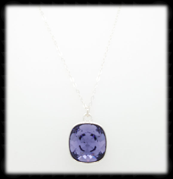 #CD53N- Cushion Cut Necklace- Tanzanite Silver