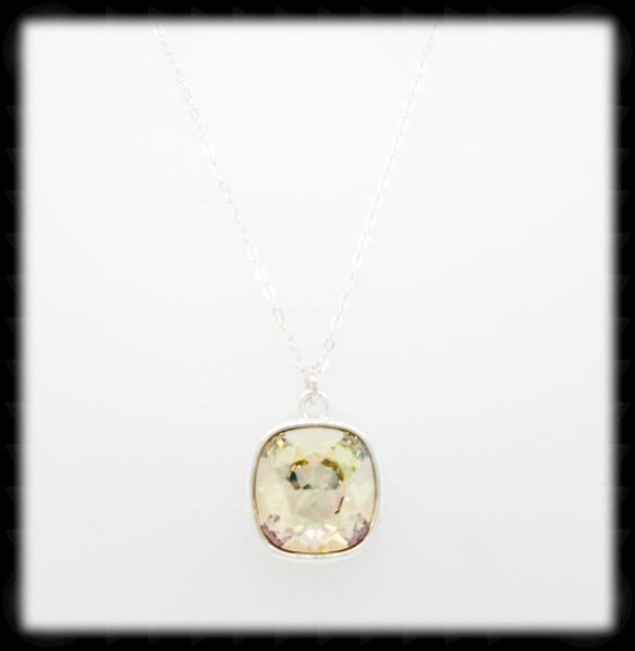 #CD49N- Cushion Cut Necklace- Luminous Green Silver